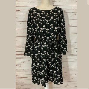GAP XL Floral Bell Sleeve Belted Baby Doll Dress